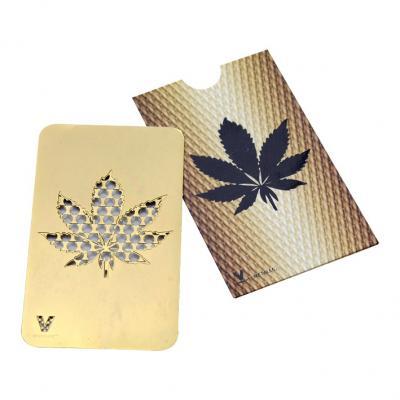 Grinder Card Gold Hemp Leaf - V Syndicate